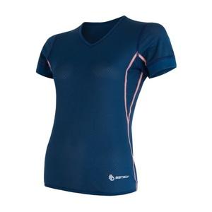 Femeii cămașă Sensor Coolmax proaspăt aer V-Neck întuneric albastru 17100023, Sensor