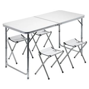 tabel camping pliere Cattara DOUBLE telescop. gri + 4x un scaun, Cattara