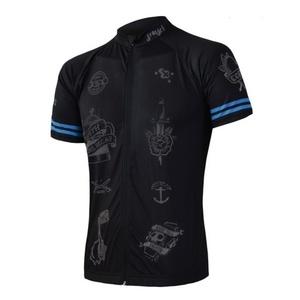 pentru bărbați ciclism jersey Sensor CYKLO tatuaj kr.rukáv celozip negru 19100019, Sensor