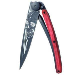 buzunar cuțit Deejo 1GB143 Negru tatuaj 37g, motociclist, roșu fag, Latino craniu, Deejo