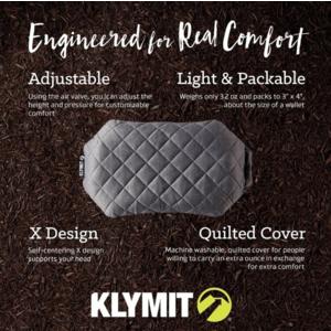 gonflabile pernă Klymit Luxe pernă gri, Klymit